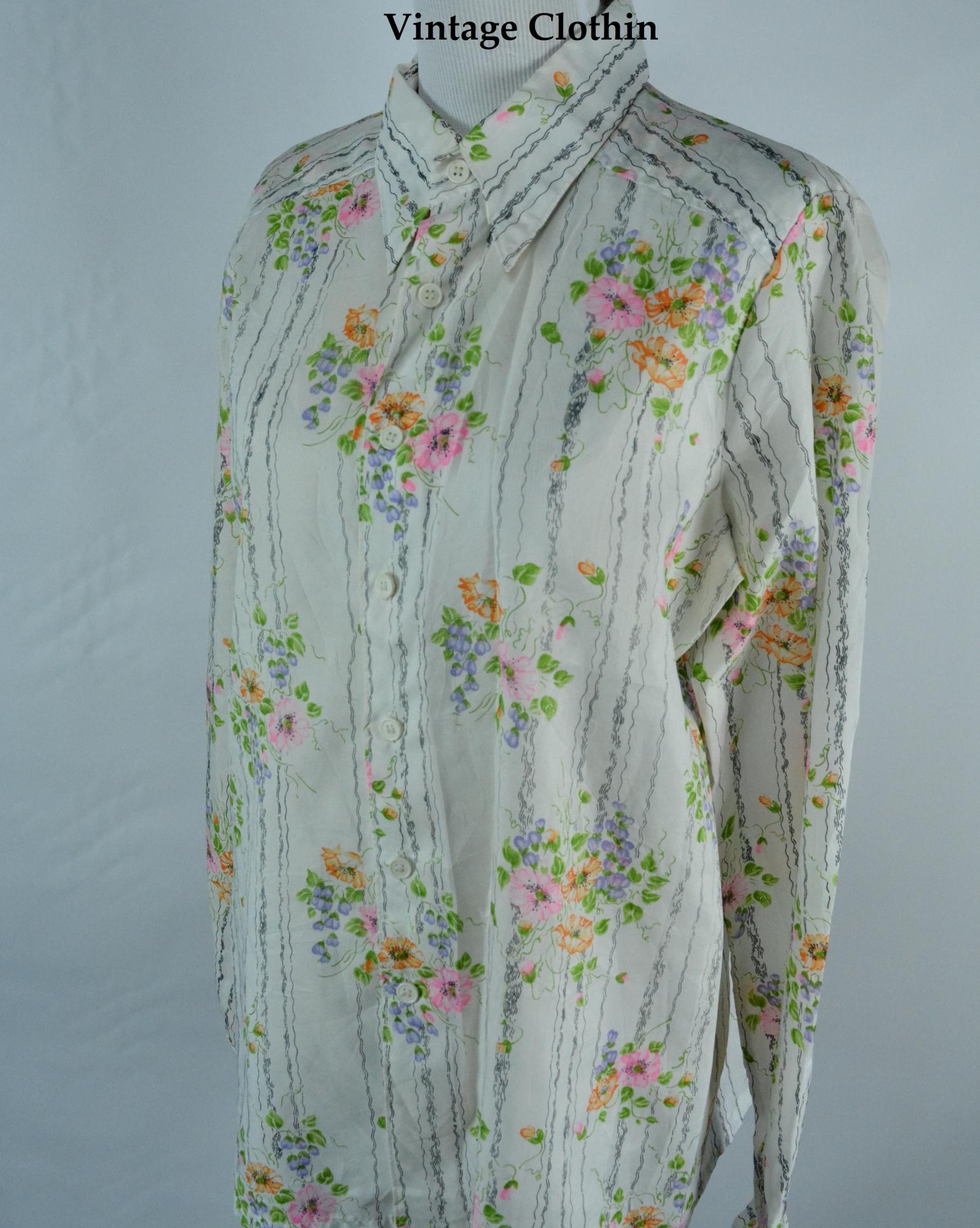 C1970s Diane Rich Floral Print Blouse, Shirt,