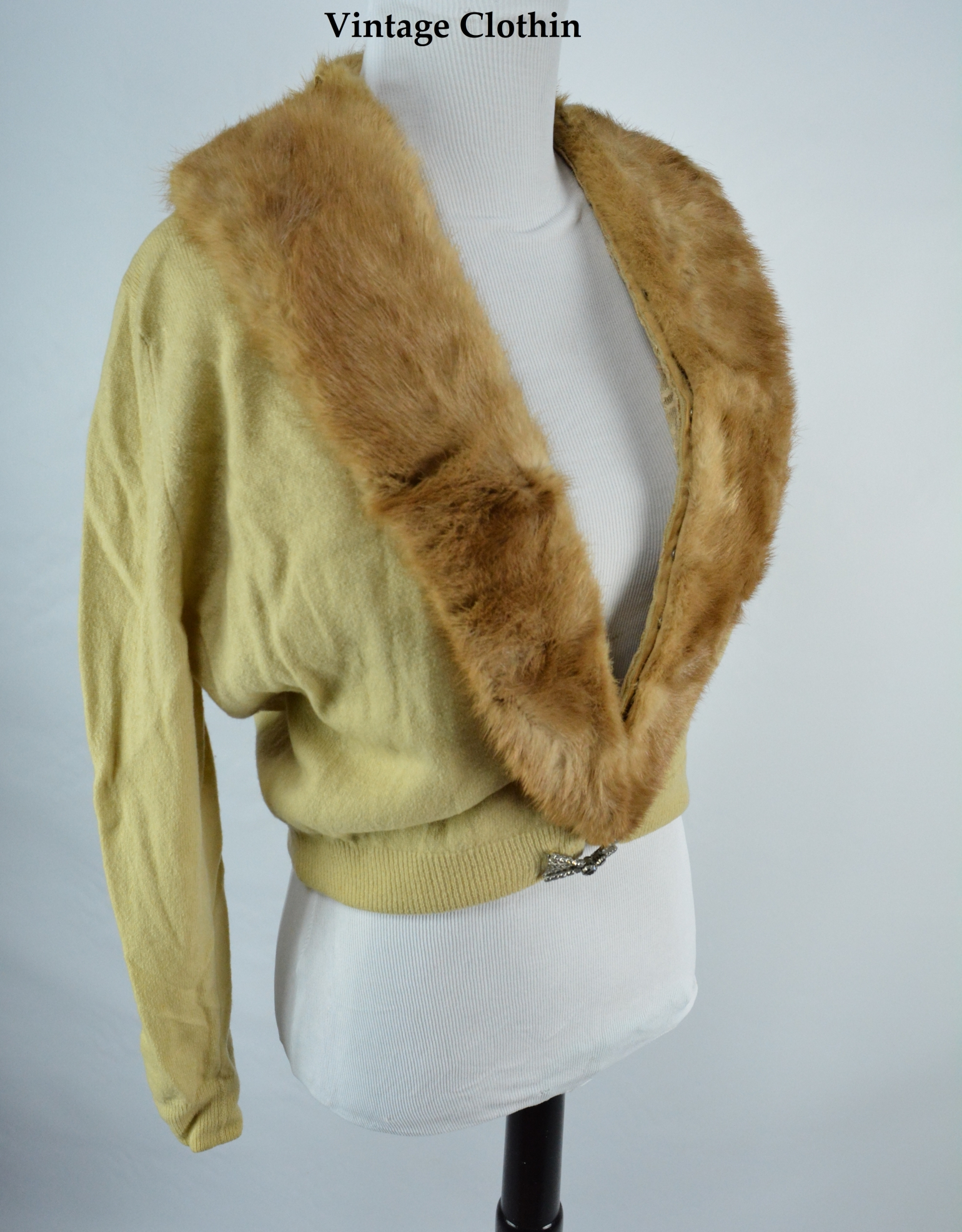 C1950s Cashmere Cardigan with Mink Collar