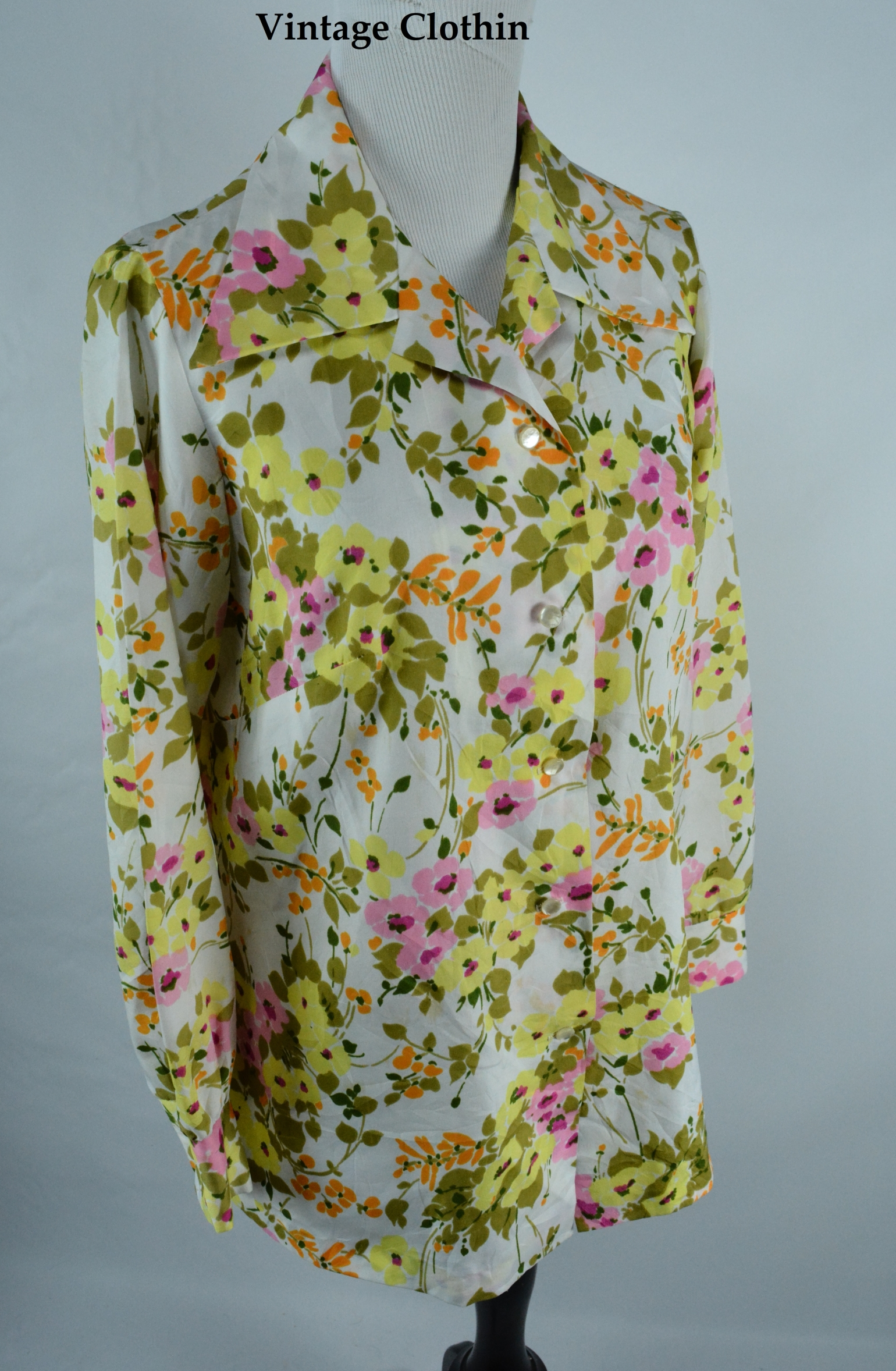 1970s Graff Floral Print Blouse/Shirt