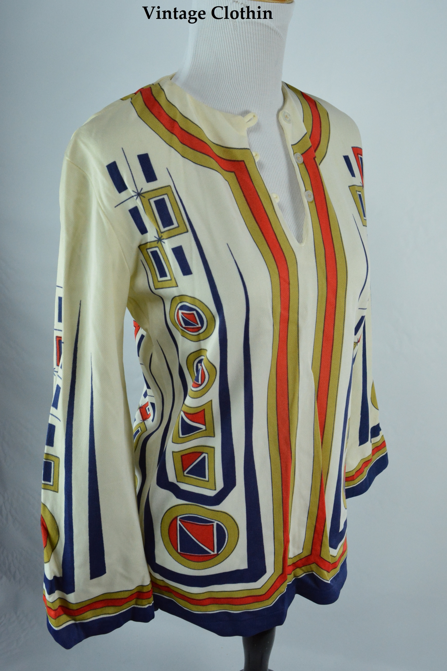 1960s Ethnic Print Top, Blouse
