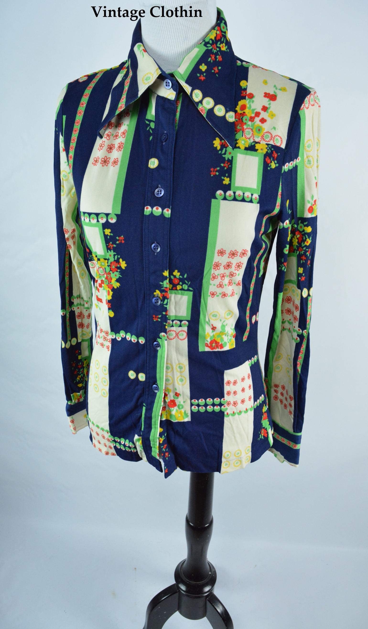 1970s Floral Print Blouse/Shirt