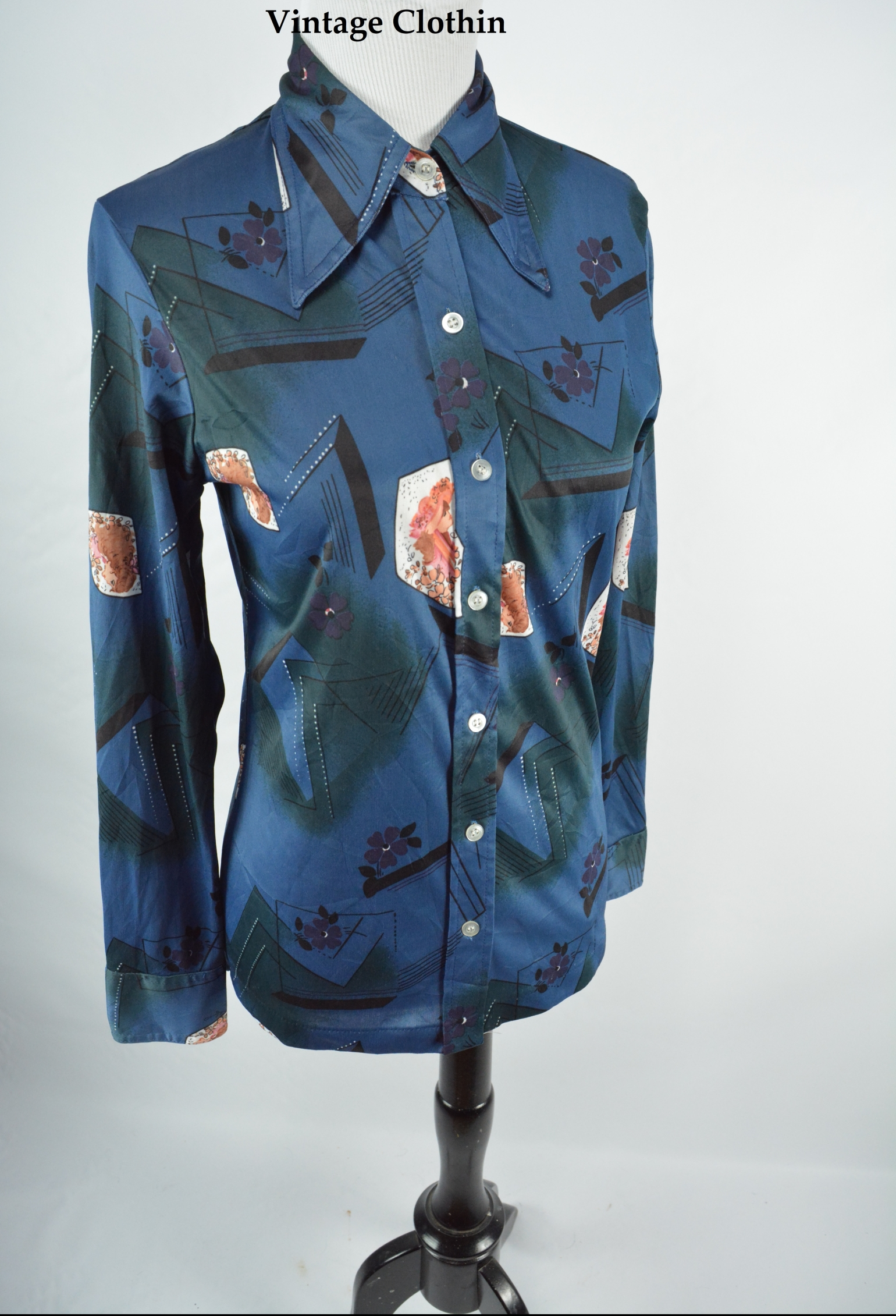 1970s Partners Novelty Print Blouse/Shirt