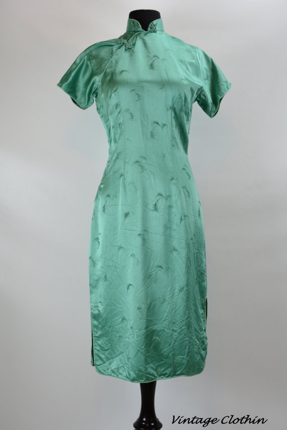 1950s Green Leaf Print Cheongsam Wiggle Dress