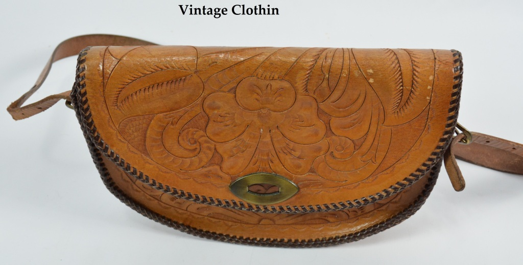 C1950s Floral Tooled Leather Crossbody/Shoulder Strap Purse
