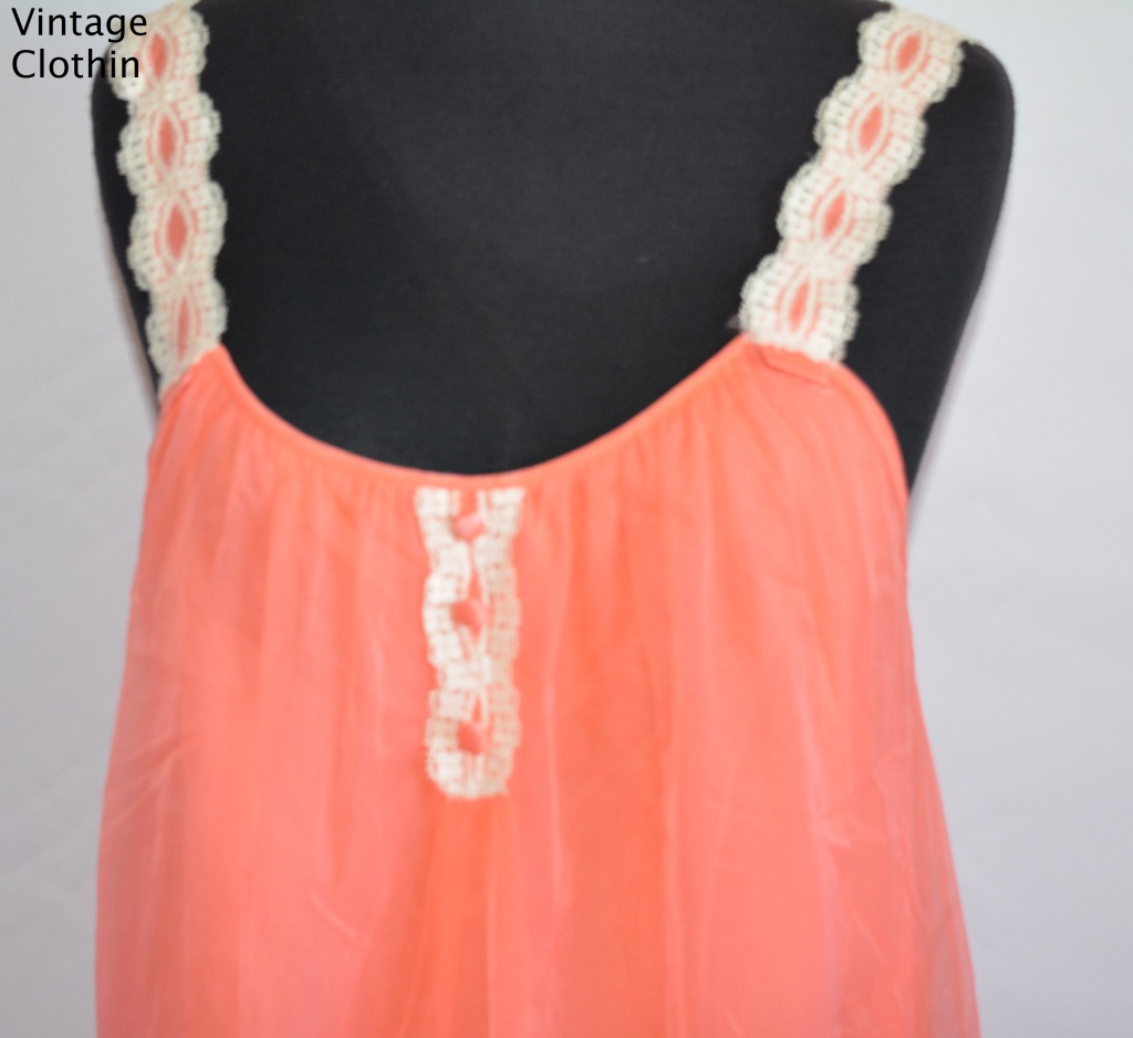 1960's Orange Baby Doll Nightgown