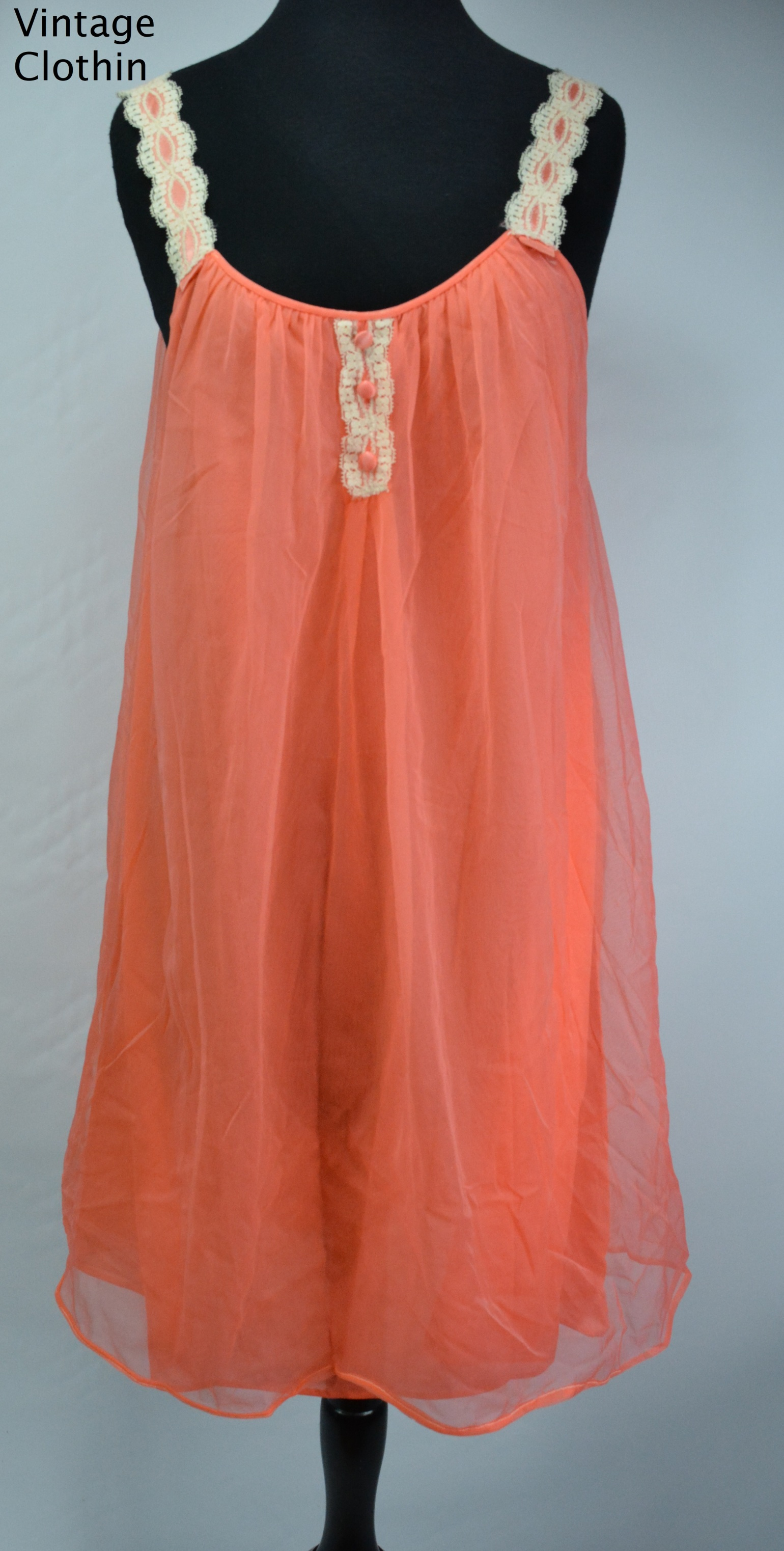 1960s Orange Baby Doll Nightgown