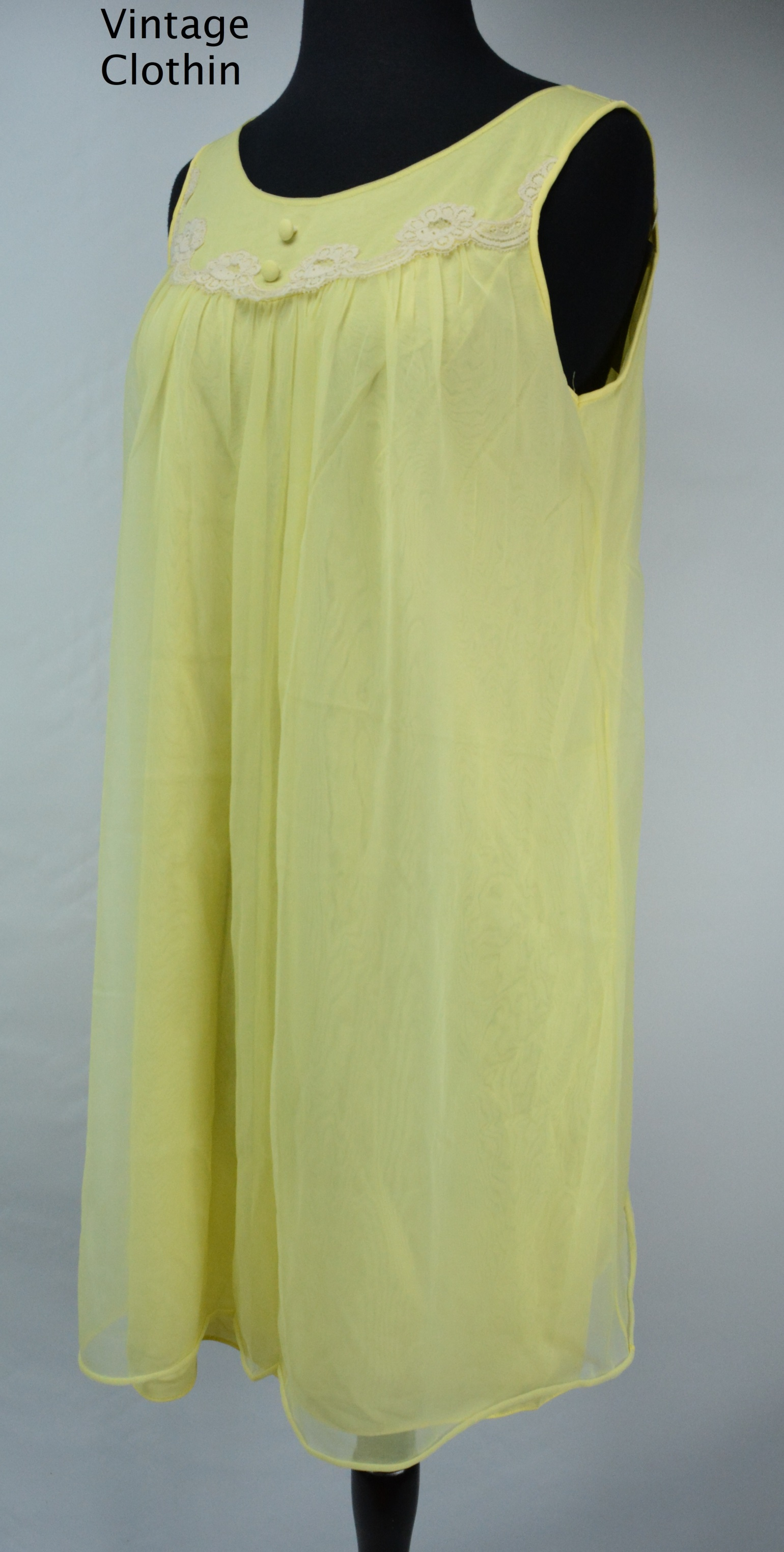 1960's Komar Yellow Baby Doll Nightgown