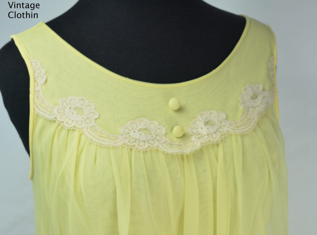1960s Komar Yellow Baby Doll Nightgown