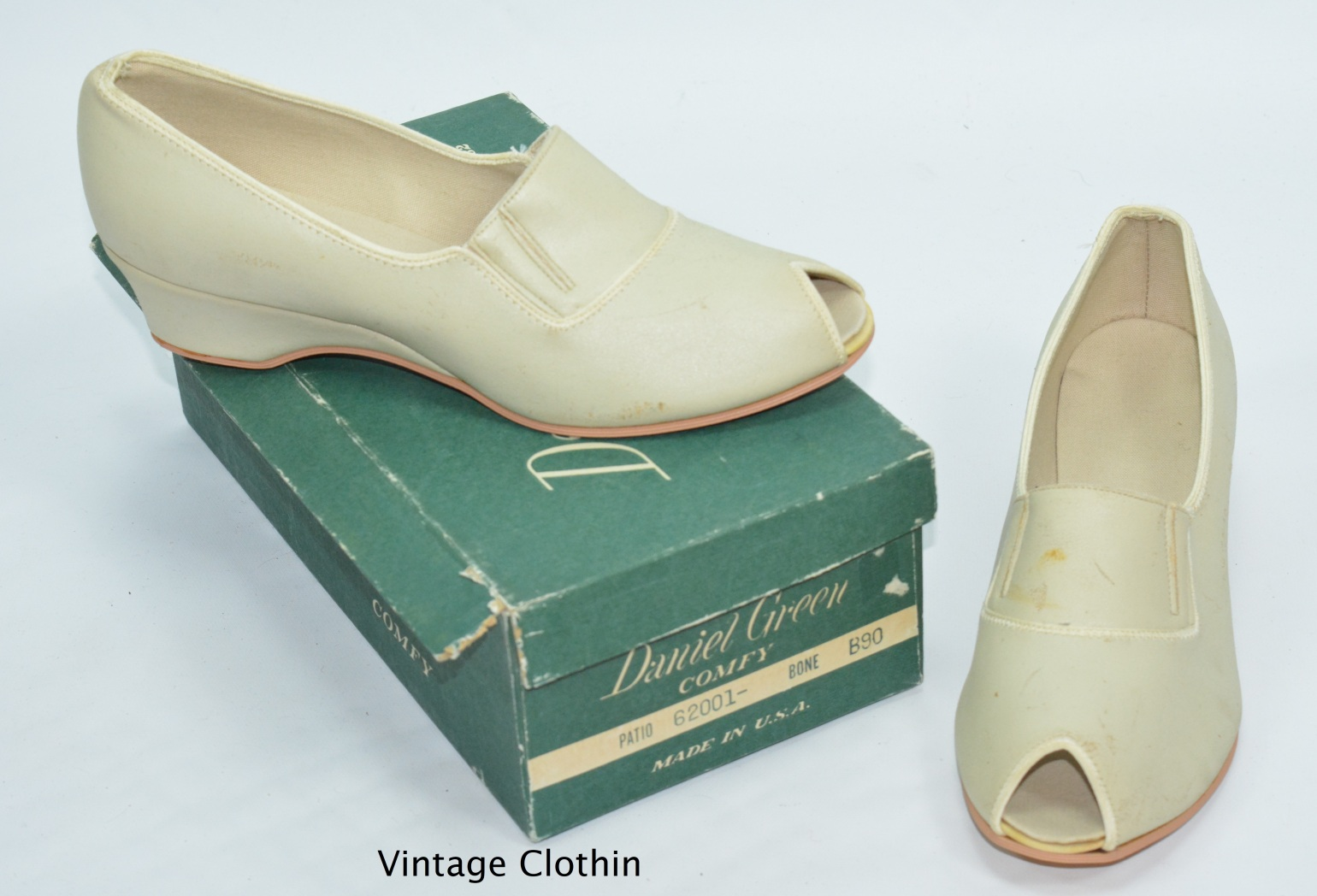 1979 Daniel Green Peep-toe Wedge Pumps New Old Stock
