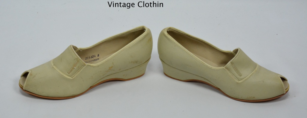 1979 Daniel Green Bone Peep Toe Wedges