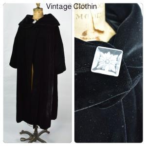 1950s Black Velvet Opera Coat