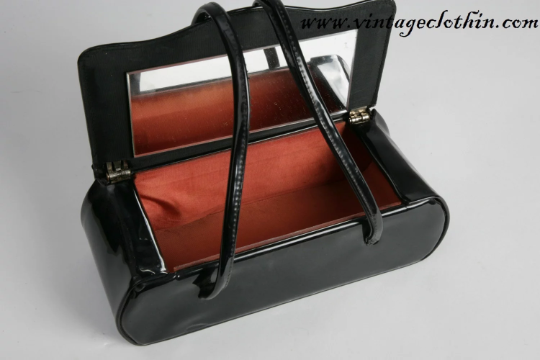 1960s Patent Leather Box Purse with Mirror