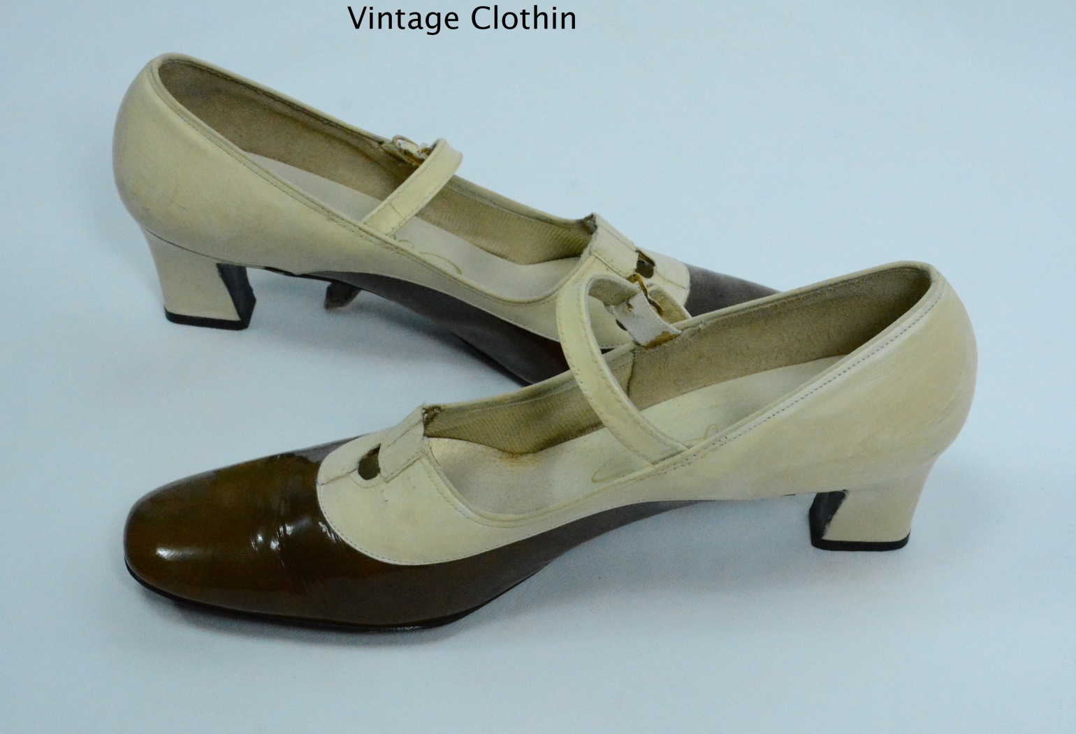 c1960s Socialites Bone and Brown Pumps