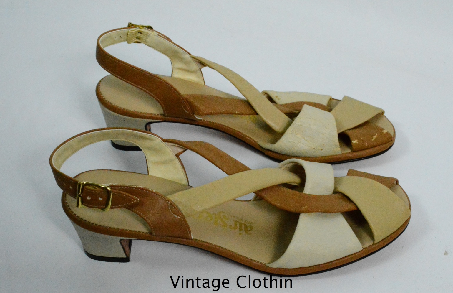 1980's Air Step Tan and Beige Sandals