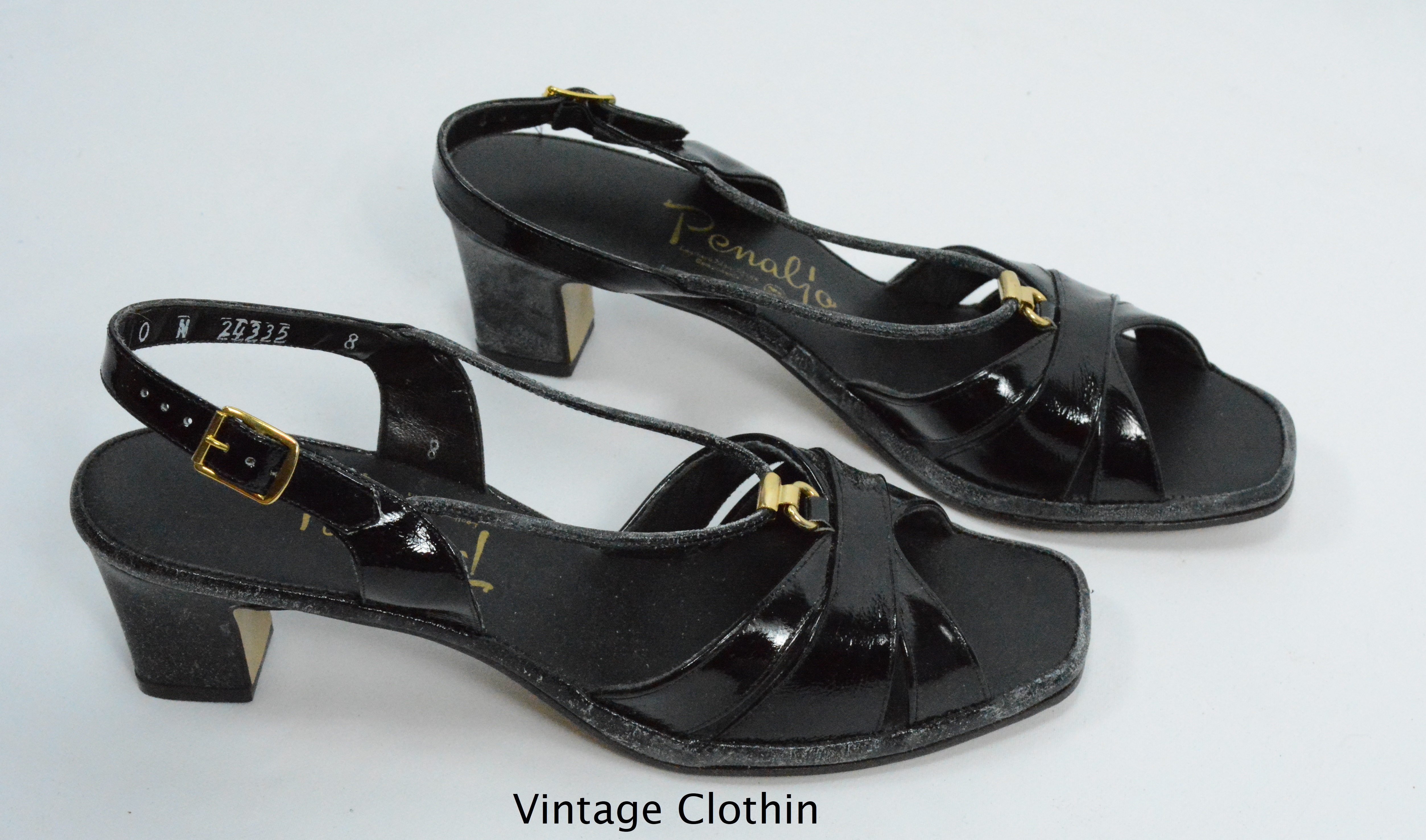 0230689ddb120 1980's Penaljo Black Patent Peep Toe Sandals For Sale – Women's ...