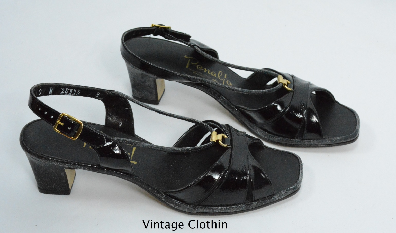 1980s Penaljo Black Patent Spaghetti Strap Sandals