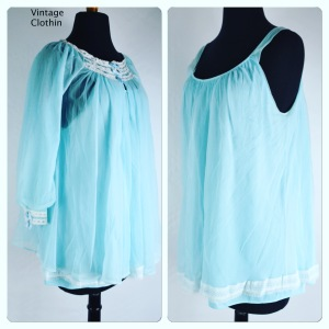 1960s Blue Peignoir Set with Lace & Ribbon